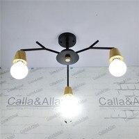 Free ship 3 arm wood socket iron chandelier wooden lamp holders E27 AC110V/220V edison light fixture black iron wood chandelier