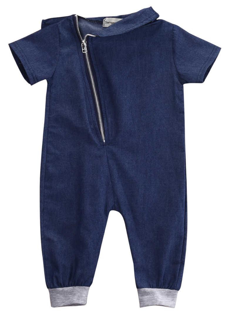 เด็กวัยหัดเดินเด็กซิป Denim Jumpsuit Romper