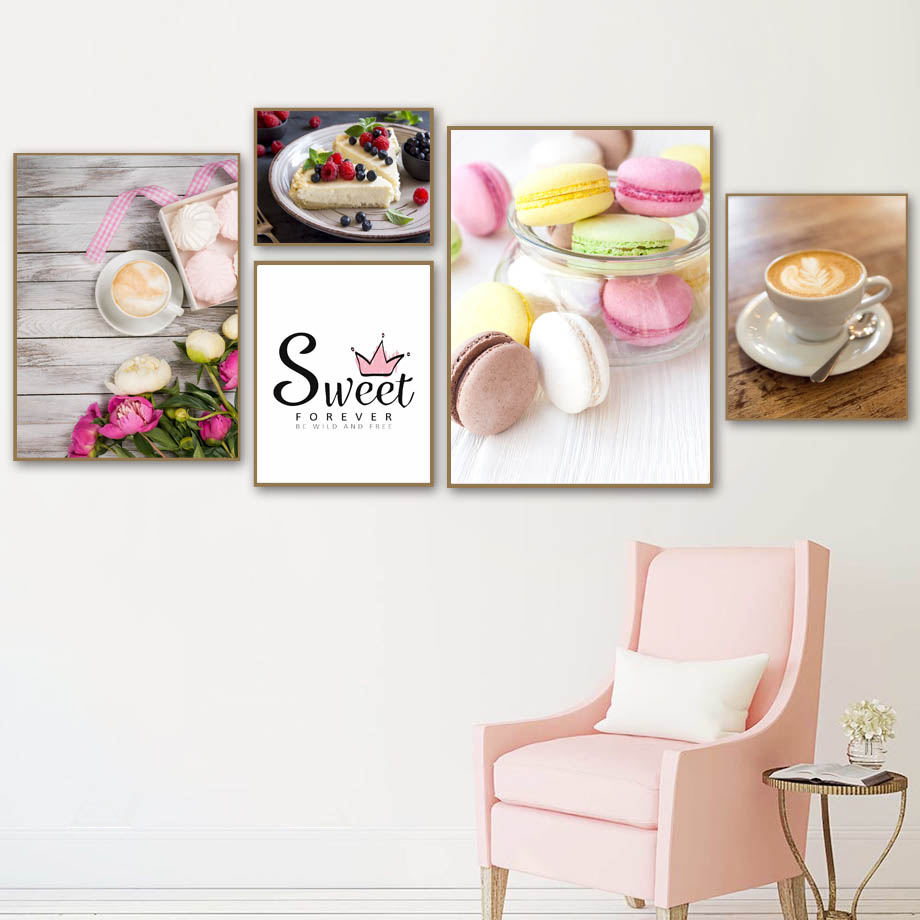 Macaron Cake Coffee Wall Art Canvas Painting Nordic Posters And Prints Pictures For Restaurant Hotel Shop Home Decor