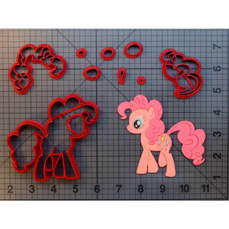 My Little Pony Pinkie Pie Cookie Cutter Set Custom Made 3D Printed Fondant Cupcake Top Cutter Cake Decoration Tools Cake Molds
