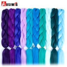 AOSIWIG 24'' 100g/pc Synthetic Ombre Kanekalon Braiding Hair Crochet Braids Hairstyles Hair Extensions Purple Pink Black