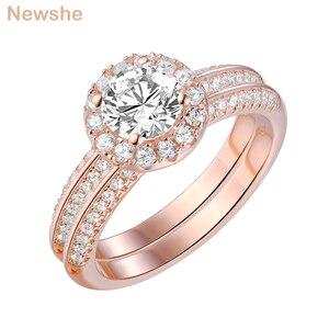 Image 2 - Newshe 2 uds anillos de boda de oro rosa para mujeres 925 Plata de Ley corte redondo AAA CZ conjunto de anillos de compromiso