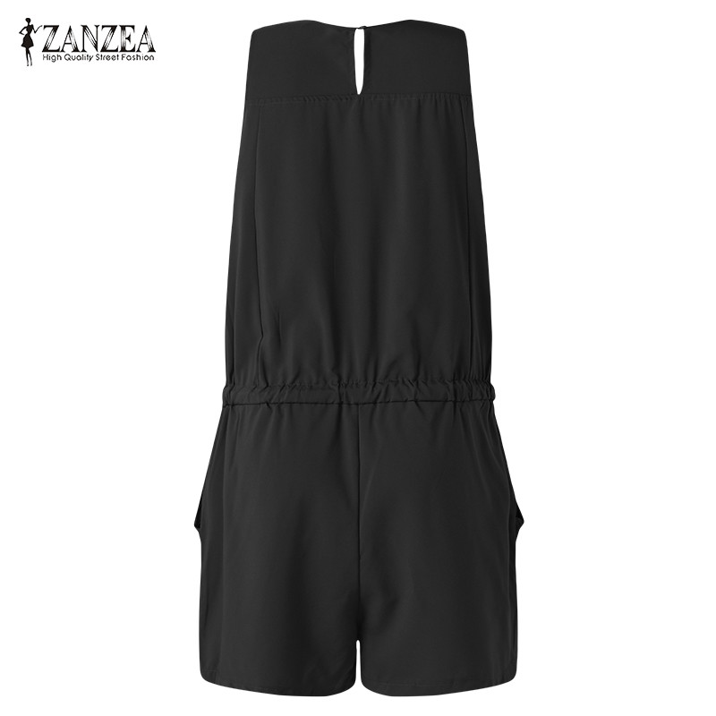 ZANZEA Summer Beach Rompers Womens Jumpsuit Front Zipper Sleeveless Sexy Slim Fit Playsuits Elegant Solid Plus Size Overalls 1