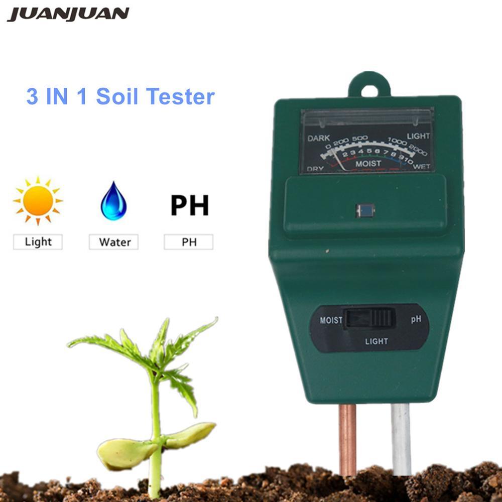 10pcs lot 3 in 1 Flowers Soil PH Tester Illuminance humidity Analyzer Moisture Light Meter Plant