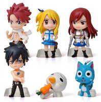 6 pz/set fairy tail natsu lucy elza grigio action figure pvc figure collection giocattoli per il regalo di natale brinquedos
