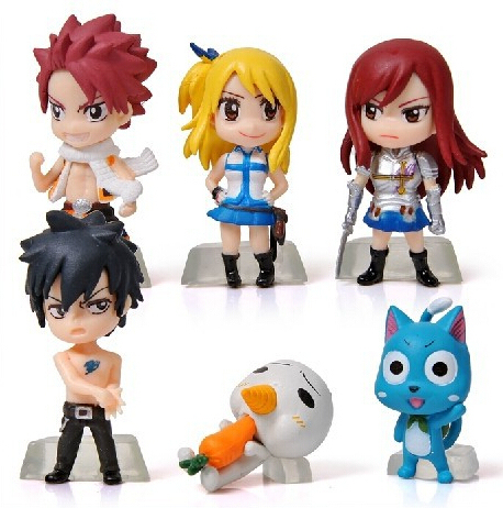 6pcs/set Fairy Tail Natsu Lucy Elza Gray Action Figure PVC Collection figures toys for christmas gift brinquedos
