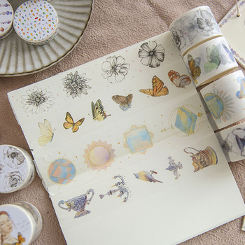 10 Designs NEW Washi Tape Butterfly/Flowers/Girls Japanese Decorative Adhesive DIY Masking Paper Diray Note Stickers Label Gifts image