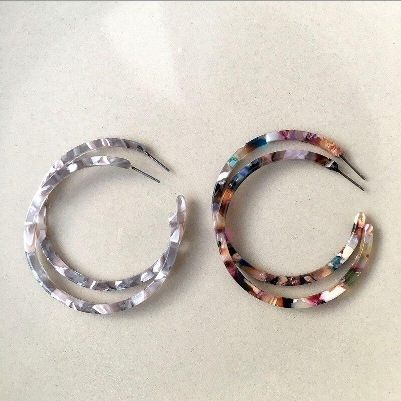 Initiative Ujbox Japanische Und Koreanische Acetat Ohrringe Frauen Dünne Große Essigsäure Hoop Ohrringe Fabrik Großhandel