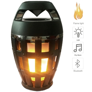 Image 1 - 2In1 Flame Atmosphere Lamp Light Bluetooth Speaker Portable Wireless Stereo Speaker With Music Bulb Outdoor Camping Woofer