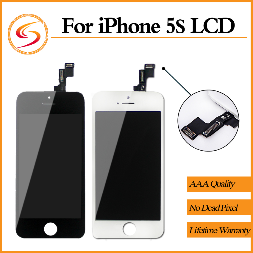 Prix pour Grade AAA + + + 10 PCS/LOT Garantie Pour iPhone 5S LCD Avec Tactile Digitizer Assemblée D'affichage Écran Remplacement Aucune Dead Pixel