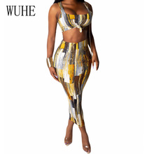 WUHE Summer Fashion Marbled Print Two Pieces Sets Bodycon Pencil Dress Vintage Bohemian Beach Female Retro Vestidos Mujer