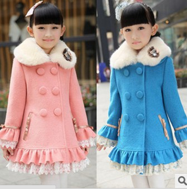[Despacho] muchachas de los niños abrigos de lana de invierno espesar abrigos de bebé girls princess style kids girls clothing alta calidad