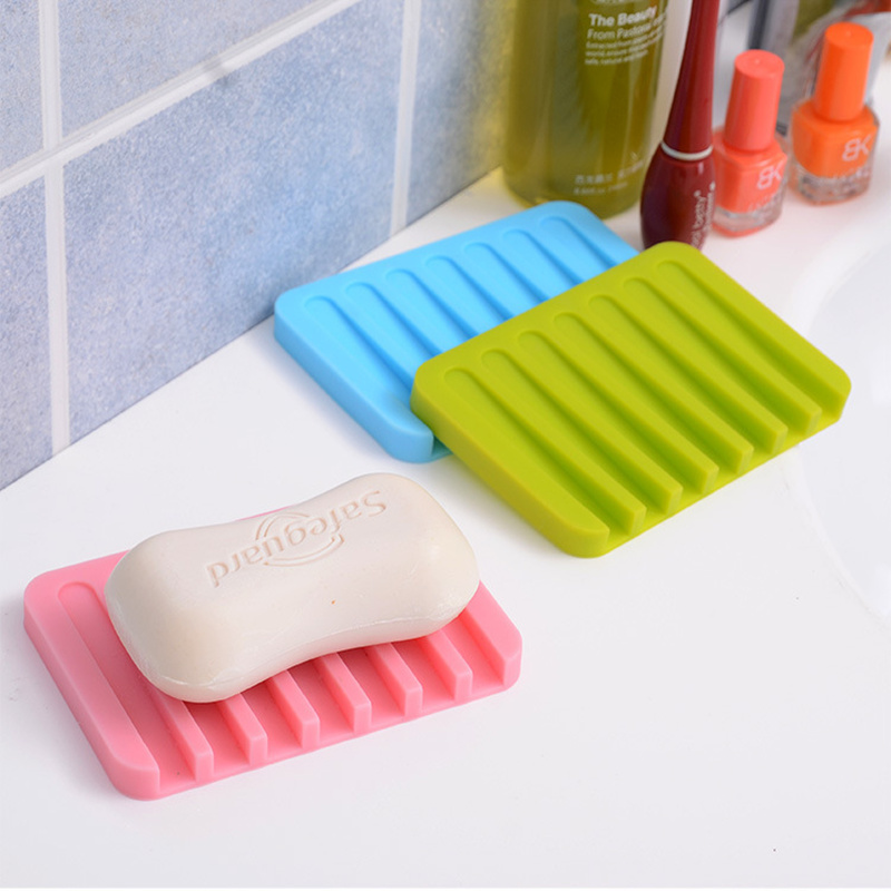 2pcs Hot sale Fashion Bathroom Silicone Soap Dish Storage Holder Soapbox Plate Tray Drain Creative Kitchen Tools,Free shipping.