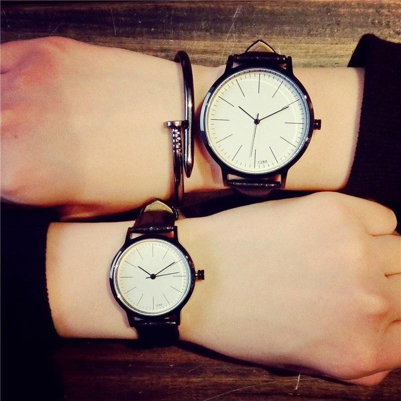 Retro genuine leather Korean fashion Simple trend men women watches students qua