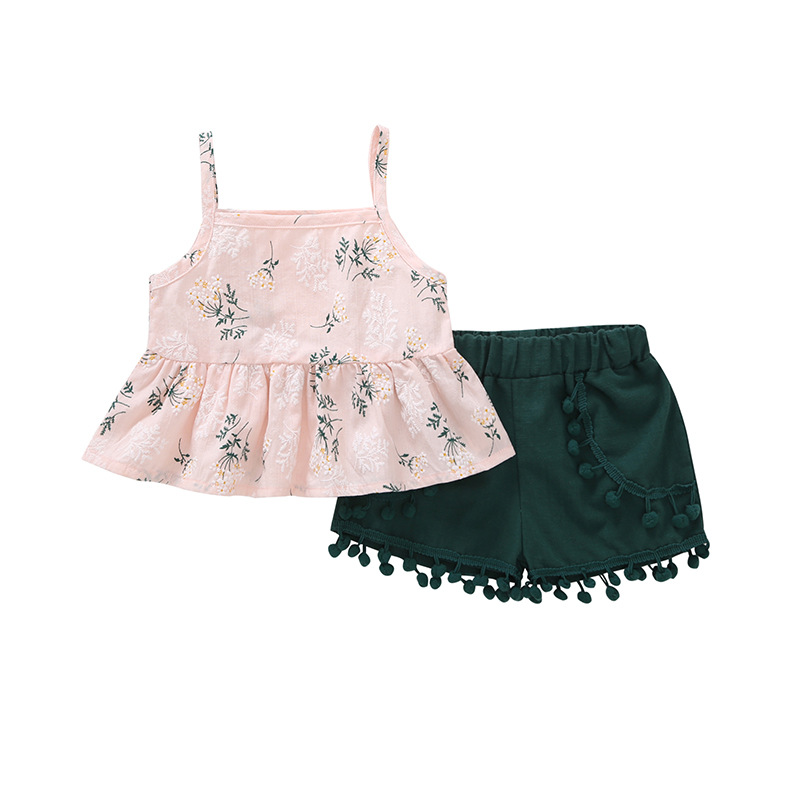 32f2807ab5b1 2018 Summer Girls Clothing Sets Baby Toddler Kids Clothes Floral Sleeveless  Tee Tops+Short Pants 2Pcs Suit For 1 2 3 4 5 6 7 Yrs
