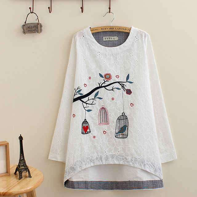 568e9ed6ddf A3 spring autumn Casual Women Blouse Plus Size 4XL Woman Clothes Long Sleeve  cotton Tops Small birdcage embroidery pattern Shirt