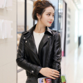 Simple Apparel Zipper Basic Women Leather Suede Jacket New Brand Motorcycle Jacket Women Outwear short Spring Jackets Cheap C466