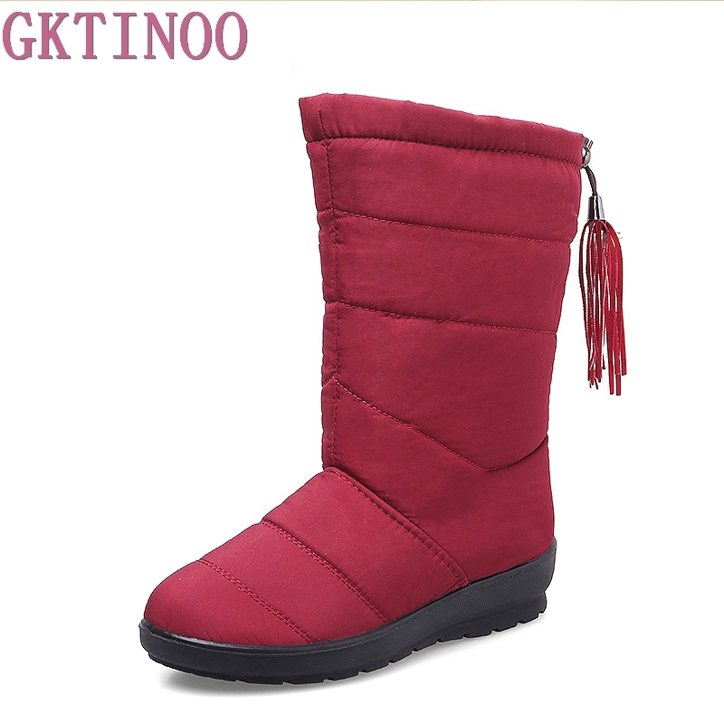 Winter Women Boots Female Waterproof Tassel Ankle Boots Down Snow Boots Ladies Shoes Woman Warm Fur Botas Mujer Plus Size 35-42 ms noki fur women winter metal star platform female slip on ankle boots warm snow boots ladies flock shoes woman botas size hot