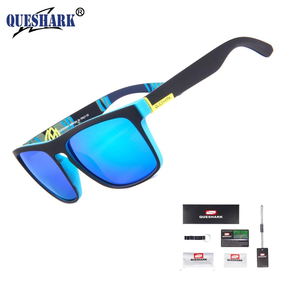 892ae17eb6d37 Óculos de Proteção Sol dos Homens Queshark Uv400 Polarizada Óculos de Camping  Pesca Ciclismo Tr90 Quadro Caminhadas Esportes Eyewear