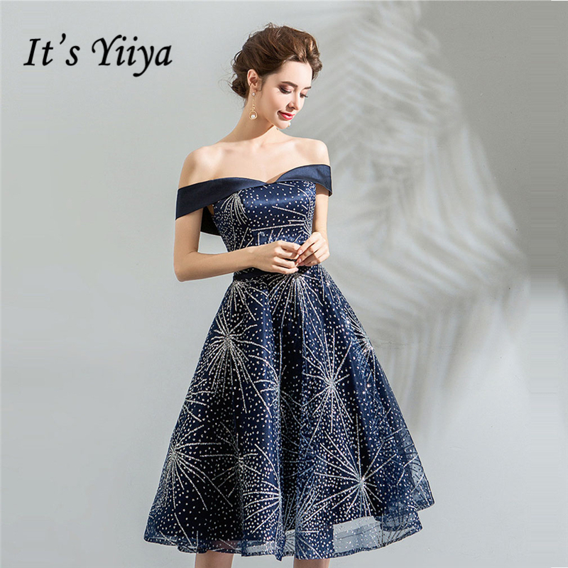 It's Yiiya Cocktail Dresses Boat Neck Deep Blue Sequins Bling A-line Knee-length Plus Size 2018 New LX1138 Vestido Coctel