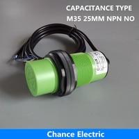 Free Shipping Non Flushed Capacitive Type Proximity Sensor 25mm NPN NO Distance Plastic Case CM35 25
