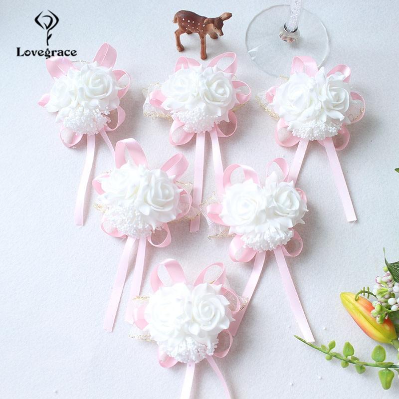 White Foam rose Wedding Wrist Corsage Hand Flowers Boutonniere bridal  (84)