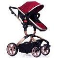 Lujo asiento y acostarse Cochecito de Bebé Cochecito de Bebé de cuatro ruedas Carro de Bebé de absorción de impactos De aleación de Aluminio de Alta Paisaje