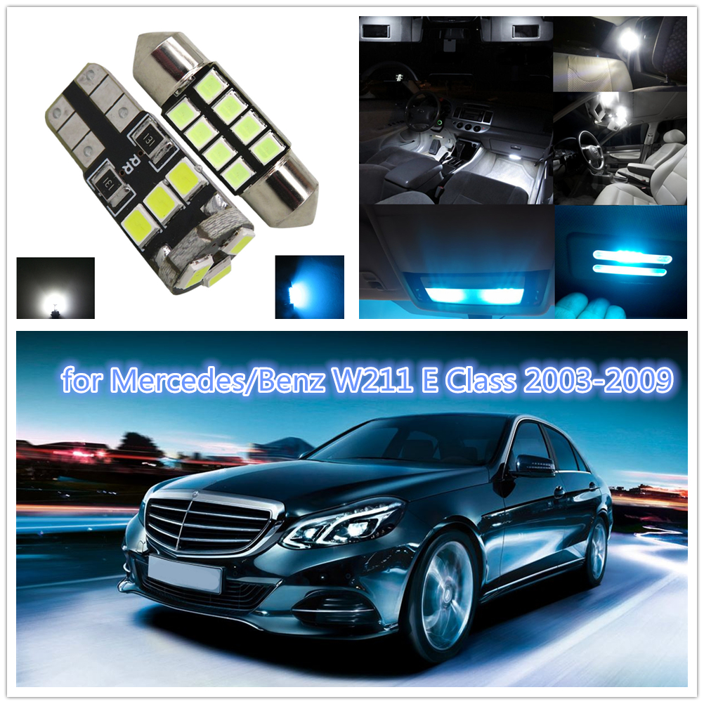 WLJH 26pcs LED Car Lamp Internal LED Interior Dome Lamp Bulb Trunk LED Vanity light Kit for Mercedes Benz W211 E Class 2003-2009 10pcs error free led lamp interior light kit for mercedes for mercedes benz m class w163 ml320 ml350 ml430 ml500 ml55 amg 98 05