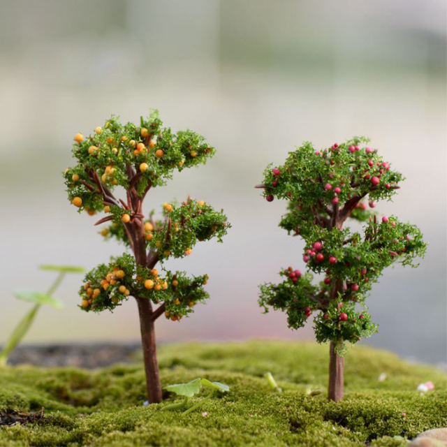 8 Types Mini Ornement De Jardin Miniature Arbre De Resine Figurine