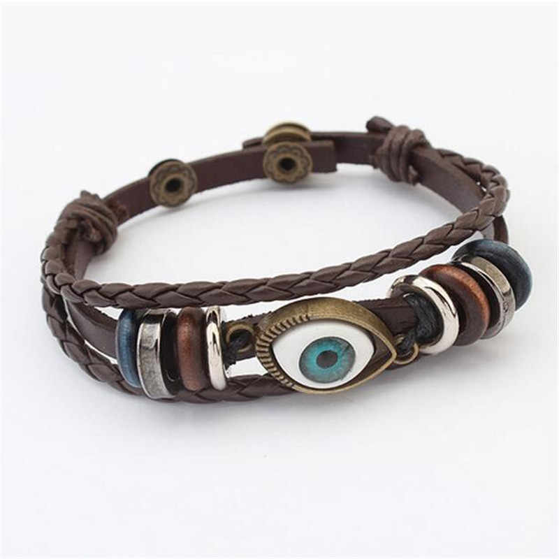 Punk Turkish Evil Eye Bracelets Wristband Female Genuine Leather Bracelet Ethnic Vintage Jewelry For Women Men Bijouterie BKY17
