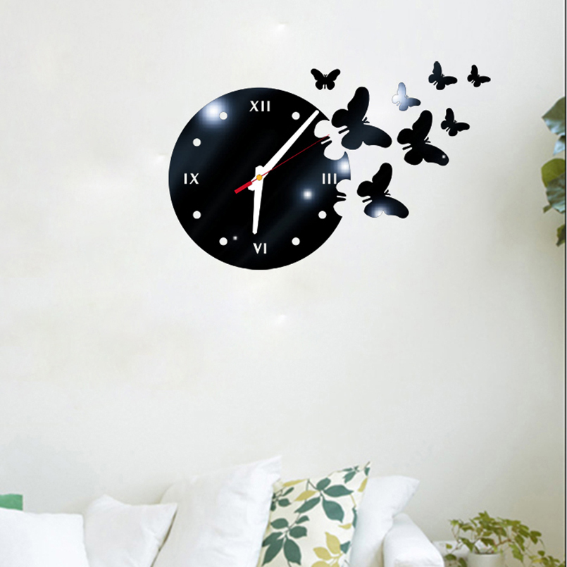New 3D Wall Clock Sticker DIY Acrylic Butterfly Wall Clock Personality Wall Clock Modern Design Living Room Decoration For Home
