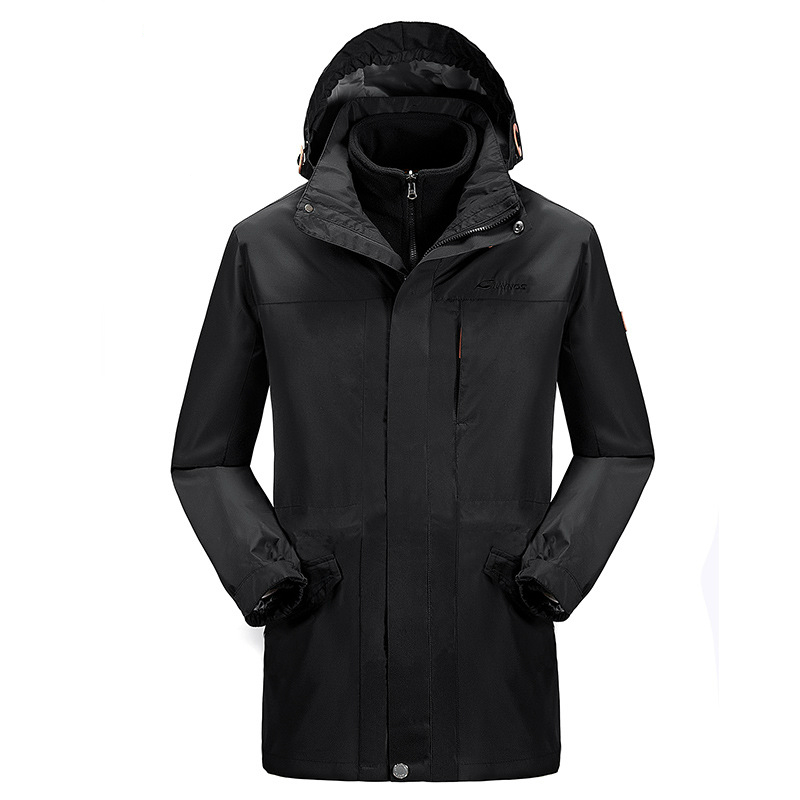 New Waterproof Warm Outdoor Winter Long Jacket Men Windbreaker Hiking Jaqueta Masculina Camping Hoodie Coat With Fleece Lining new pure linen retro men s wing chun kung fu long robe long trench ip man robes windbreaker traditional chinese dust coat