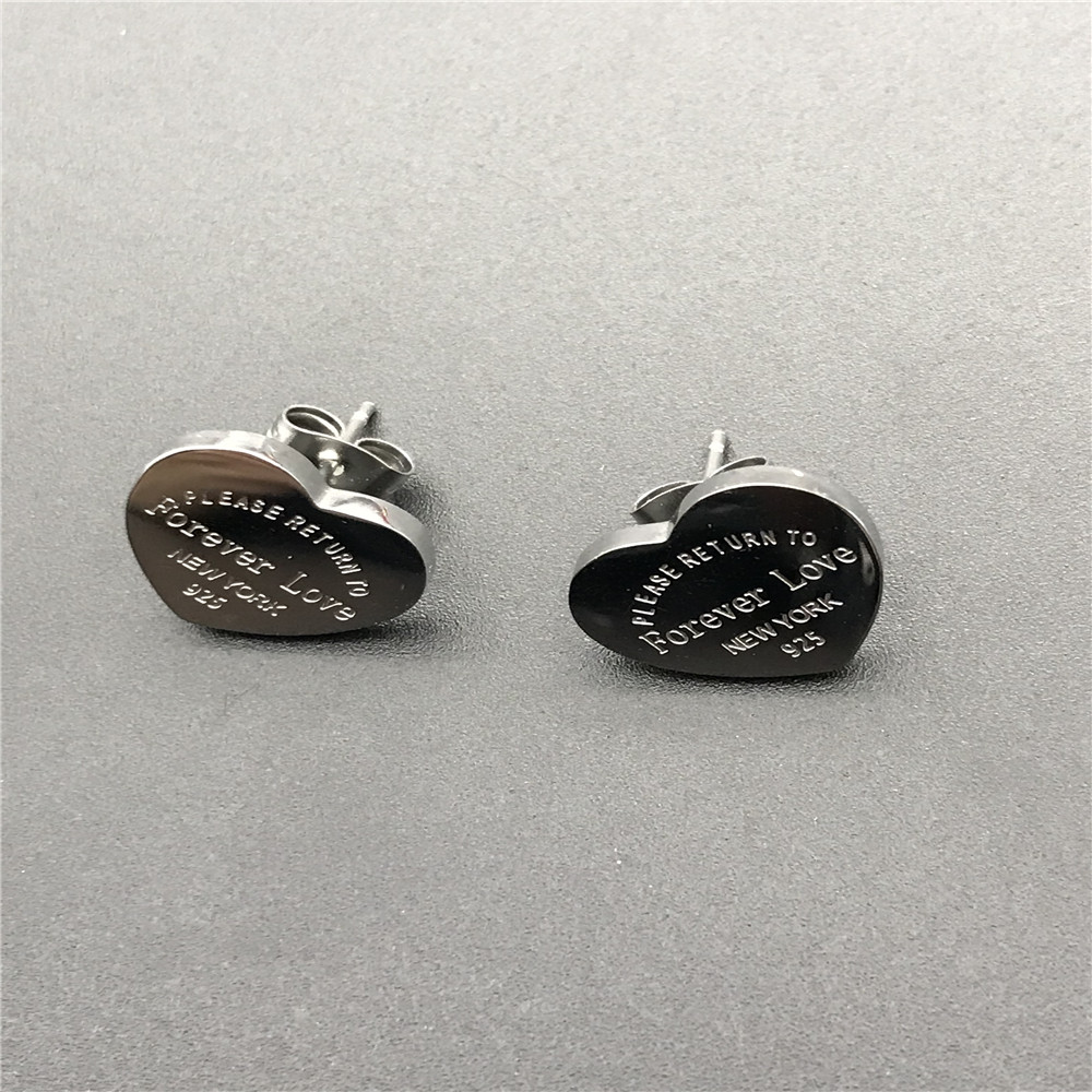 Titanium Steel Heart love stud Earrings silver gold rose color brand Forever Love Style Fashion Women Charm Earrings wholesale
