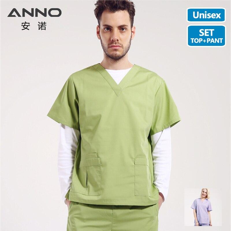 ANNO Summer V Neck Nursing Scrubs Medical Set For Men Women Doctor Surgical Uniform Medical Clothing