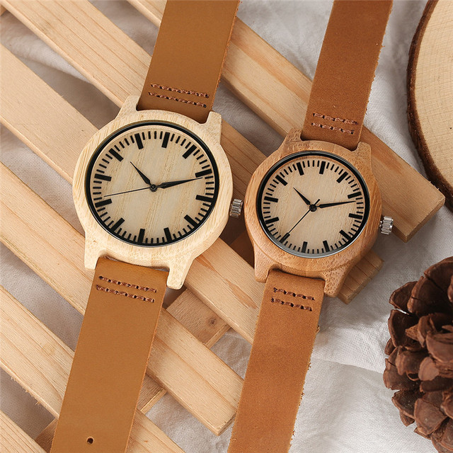 YISUYA Couple Wooden Watch Man Women Quartz Wristwatches Bamboo Face Watches wit