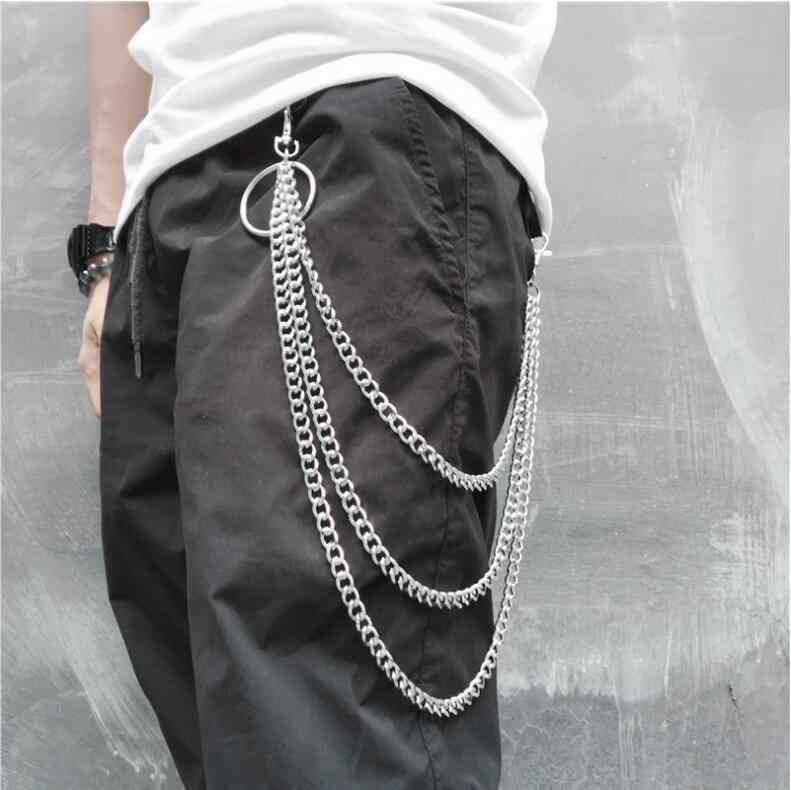 60 CM de largo de Metal cartera cinturón cadena Punk Rock pantalones Hipster pantalón Jean llavero anillo de plata Clip llavero de los hombres joyas HipHop
