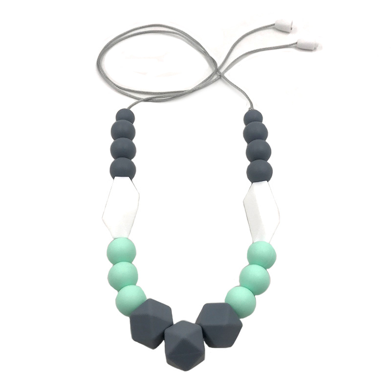 BPA Free Silicone Teether, Baby Teething Necklace, Infant Babes Nursing Breastfeeding Necklace Toy, Mom Chewable Jewelry