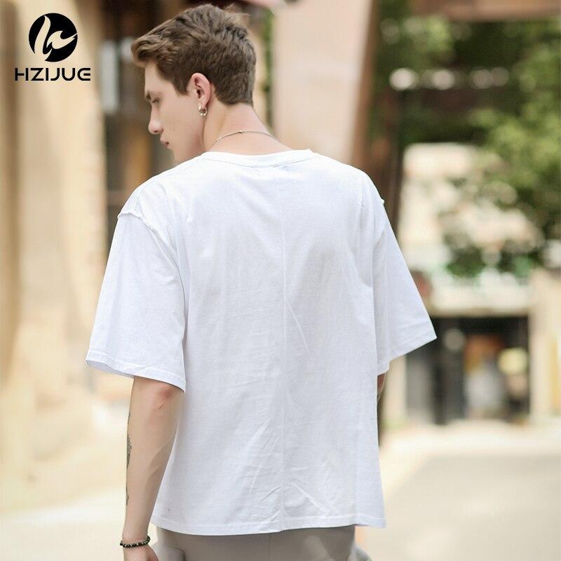 HZIJUE Europe Size Solid color 100% Cotton T Shirt Mens Black White T-shirts 2018 Summer Skateboard Tee Boy Hip hop Skate Tshirt