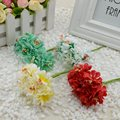 6pcs/lot Mini Silk Artificial Rose Flowers Bouquet Multicolor Scrapbooking Flower Leaves Stamen Wedding Box Decoration