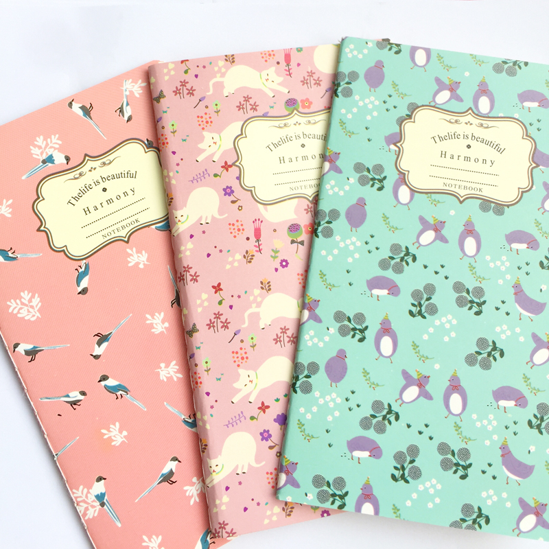 Floral Blank Kraft Paper Notebook Recite Words Learn Foreign Language Planner Student School Office Supply