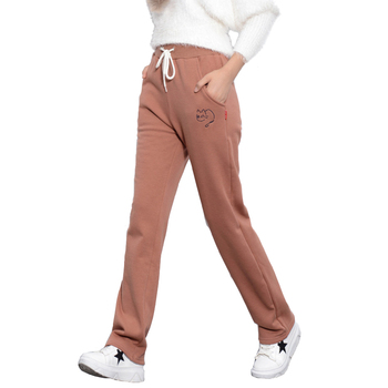 Winter Sweet Casual Loose Fleece Drawstring Thicken Harem Pants Women Warm Cats Embroidery Full Length Pants Trousers T084