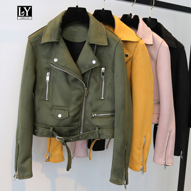Ly Varey Lin Women Soft   Suede     Leather   Motorcycle Jacket Turn-down Collar Female Short Coats Black Pink Army Green Punk Outerwear
