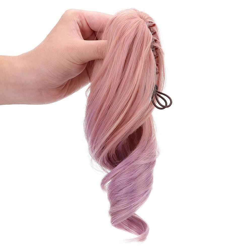 """12 """"różowy fioletowy Ombre włosy syntetyczne Cosplay Lolita peruka dla kobiet 2 pazur kucyk przedłużanie włosów włosy Bob peruka z grzywką HeatResistant"""
