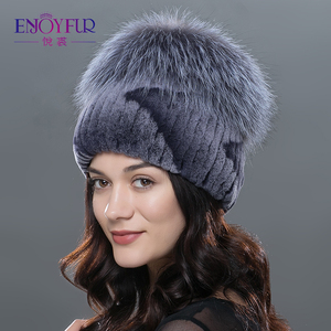 Image 3 - ENJOYFUR חורף רקס ארנב פרווה כובעים לנשים בימס למעלה סרוג עם שועל פרווה חדש מותג מזדמן כובעים באיכות טובה