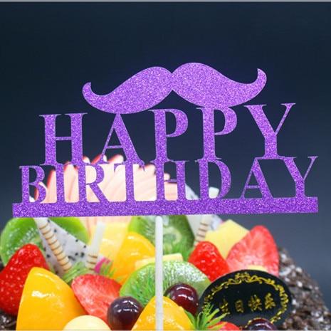 DIY Mutlu Doğum Günü Baba Bıyık Kek Bayrak Topper Doğum Günü - Tatiller ve Partiler Için - Fotoğraf 5
