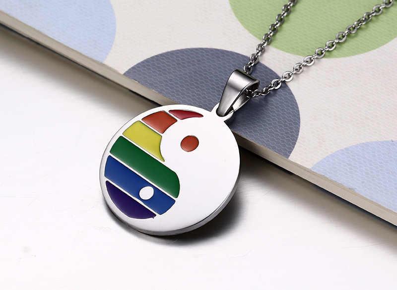 Phụ Nữ Đồng Hồ Nam Thép Không Gỉ Rainbow Âm Dương Mặt Dây Chuyền Vòng Cổ Cho Đồng Tính Đồng Tính Nữ Niềm Tự Hào Tặng Dây Chuyền