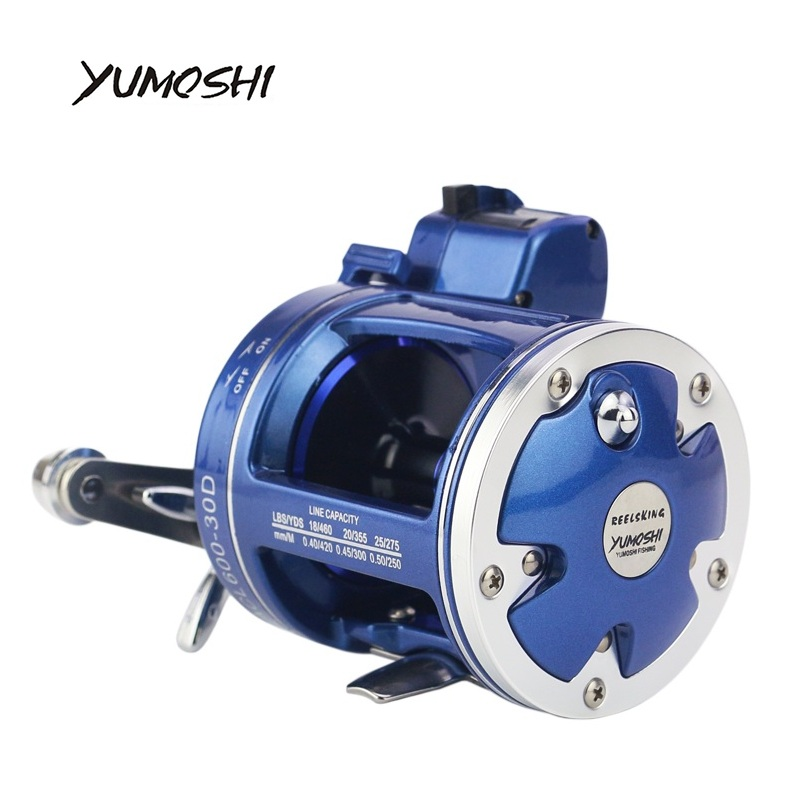 2018 Новый yumoshi 12 + 1bb морских Рыбалка без пауз Барабаны колеса Рыболовная катушка с электрическим глубина подсчета множитель тела