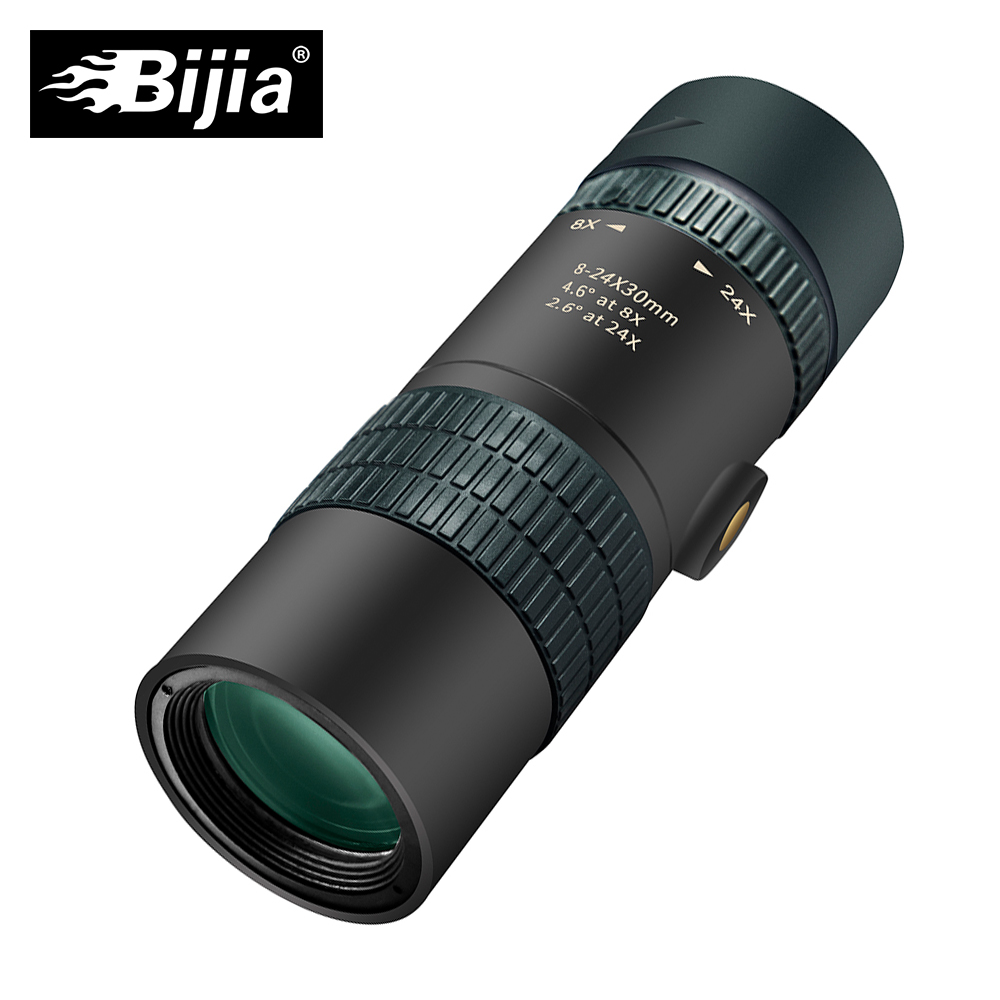 BIJIA 8-24x30 Professionelle HD Zoom Monokulare Hohe Qualität Tasche Jagd Teleskop Optische BAK4 Prisma mit Stativ Interface