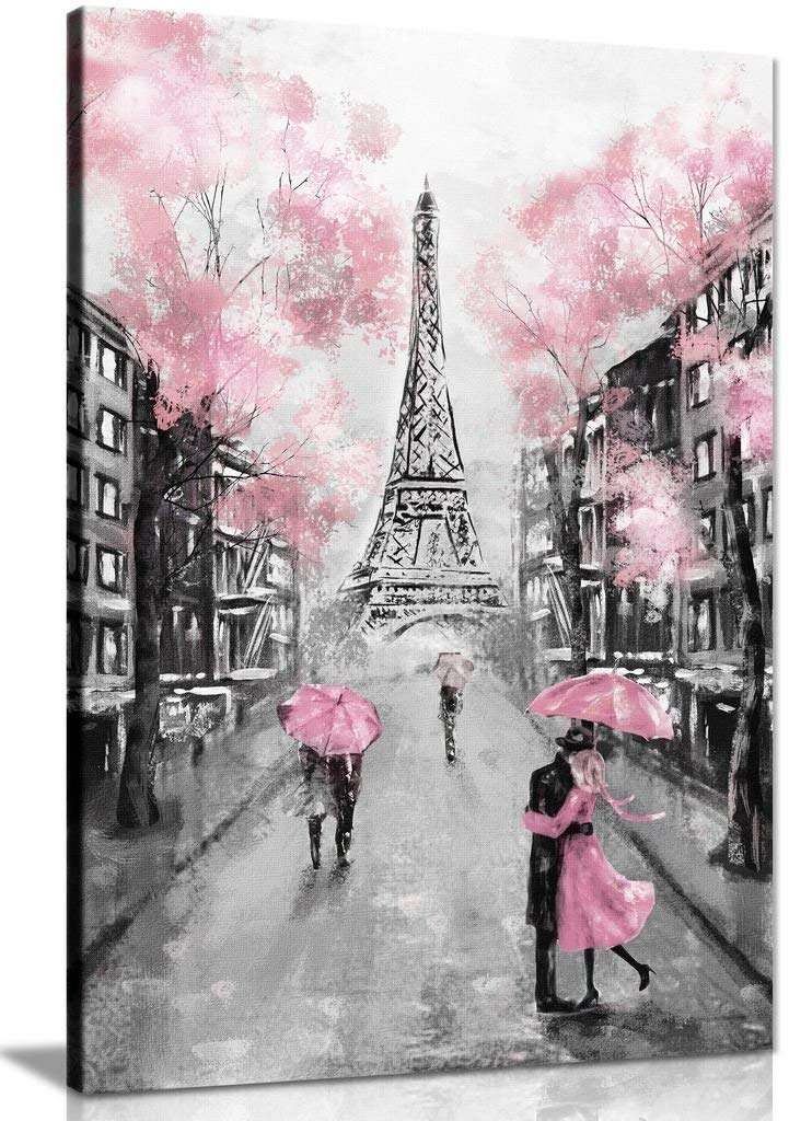 Personnalisé Vertical toile mur Art rose tour tour tour paysage peinture photo toile Art impressions pour décor à la maison livraison directe