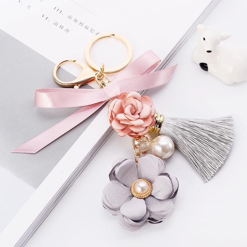 Cloth Flower Key Ring Ice Silk Tassel Car Key Chains Lady Couple Bag Ornaments Creative Fashion Charm Bowknot Keychain